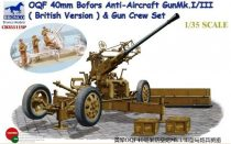 Bronco OQF 40mm Bofors Anti-Aircraft Gun Mk.I/III with Gun Crew makett