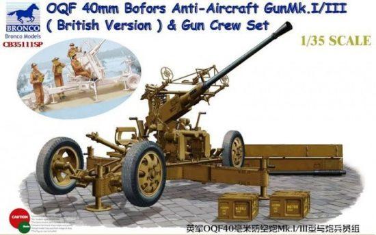Bronco OQF 40mm Bofors Anti-Aircraft Gun Mk.I/III with Gun Crew