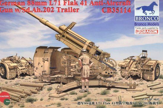 Bronco German 8.8cm L71 Flak41 Anti-Aircraft Gun with Sd.Ah.202 Trailer makett