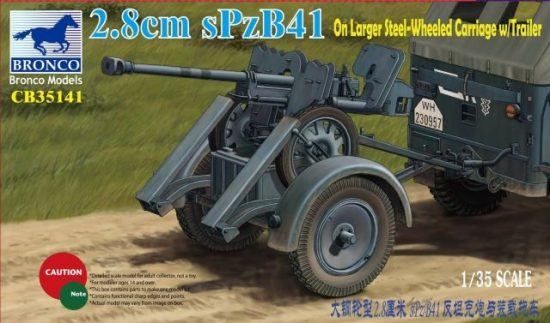 Bronco 2.8cm sPzB41 on larger steel-wheeled carriage with trailer makett