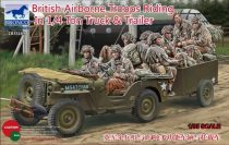 Bronco British Airborne Troops Riding in 1/4 ton Truck and Trailer makett