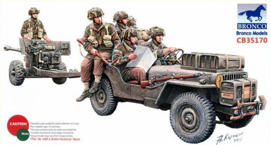 Bronco 6pdr Anti-Tank Gun (Airborne) With 1/4Ton Truck & Crew makett
