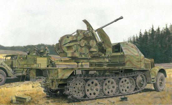 Dragon Sd.Kfz.7 w/3.7cm FlaK 43 auf SELBSTFAHRLAFETTE makett