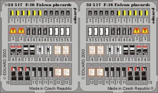 Eduard F-16 placards