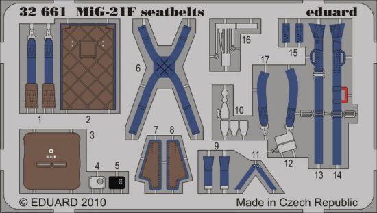 Eduard MiG-21F KM1 seatbelts (Trumpeter)