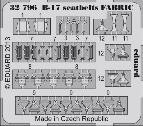 Eduard B-17 seatbelts FABRIC (Hong Kong Models)