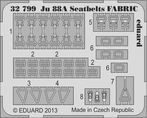 Eduard Ju 88A seatbelts FABRIC (Revell)
