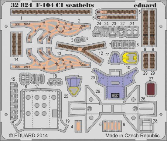 Eduard F-104 C1 seatbelts (Italeri)