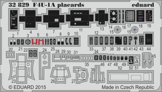 Eduard F4U-1A placards (Tamiya)