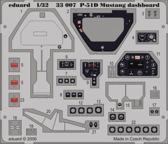 Eduard P-51D dashboard (Hasegawa)