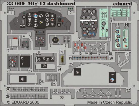 Eduard MiG-17 dashboard (Trumpeter)
