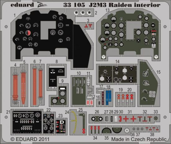 Eduard J2M3 Raiden interior S.A. (Hasegawa)