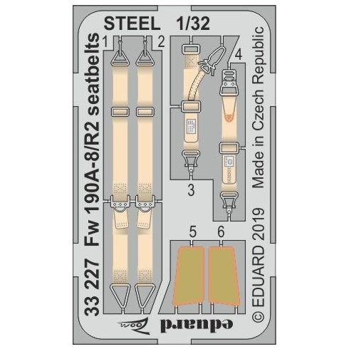 Eduard Fw 190A-8/ R2 seatbelts STEEL (Revell)