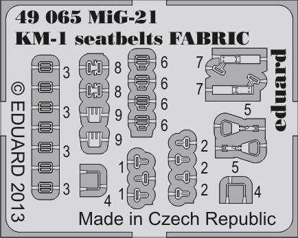 Eduard MiG-21 KM-1 seatbelts FABRIC