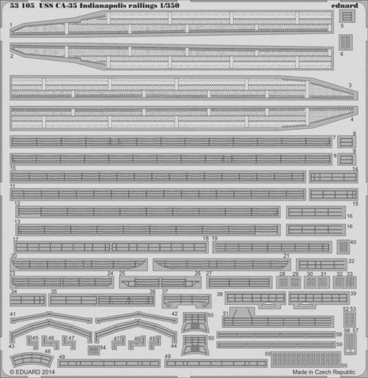 Eduard USS CA-35 Indianapolis railings (Academy)