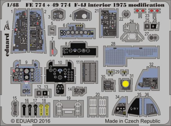 Eduard F-4J interior 1975 modification (Academy)