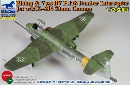 Bronco Blohm & Voss Bv P.178 Bomber Interceptor Jet with MK-214 50mm Cannon makett