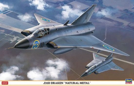 "Hasegawa J 35D Draken ""Natural Metal"" Limited Edition makett"