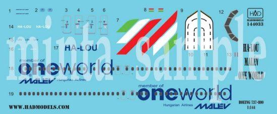 HAD Boeing 737-800 Malév One world