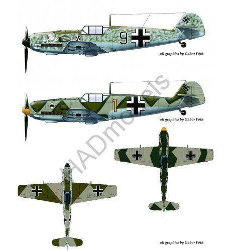 "HAD Messerschmitt Bf 109 E-4 (Black 9 ""schnauzl"" ; yellow 1)"