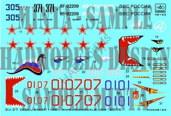 HAD Su-27 Flanker B decal sheet part 2