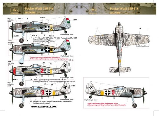 HAD FW-190 F-8 red 2; 9; W-517; w505