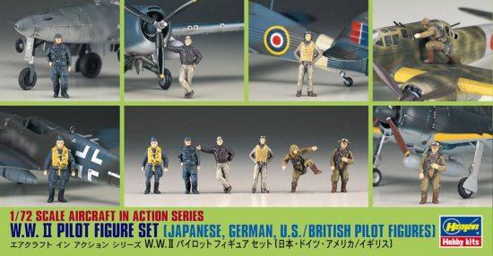 Hasegawa WWII Pilot set British Japanese, German, American