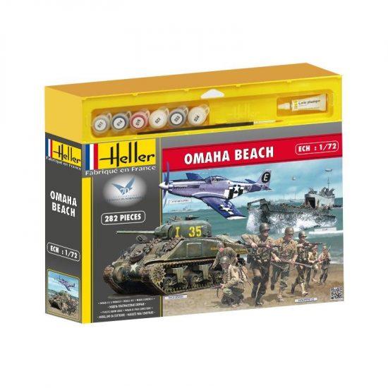 Heller Omaha beach (Sherman, P51, LCVP,fig,US) makett