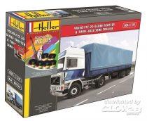 Heller Volvo F12-20 GlobeTrotter & Twin-Axle Semi Trailer  makett
