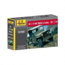Heller Jeep Willis & Trailer makett