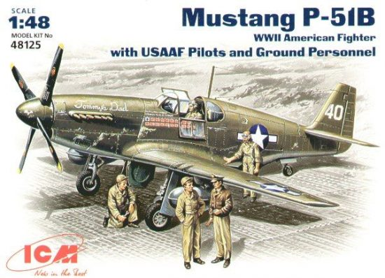 ICM P-51B Mustang USSAF with USAAF Pilots and Ground Personnel makett