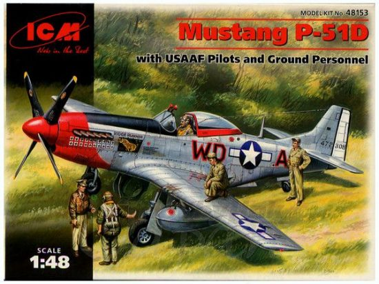 ICM P-51D Mustang USSAF with USAAF Pilots and Ground Personnel makett
