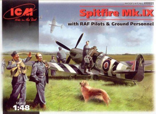 ICM Spitfire Mk.IX with Pilots, Ground crew makett