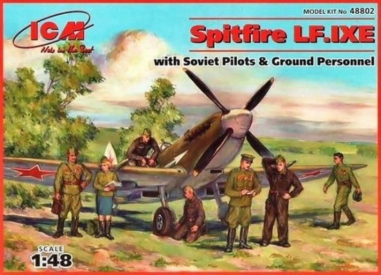 ICM Spitfire LF Mk.IXe with Pilots and Ground crew makett
