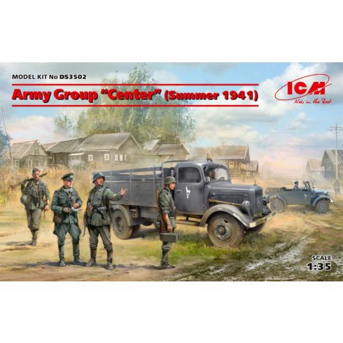 "ICM Army Group""Center"" Kfz1, Typ L3000S, German Infantry (4 figures) makett"