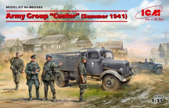 "ICM Army Group""Center"" Kfz1, Typ L3000S, German Infantry (4 figures) makett"