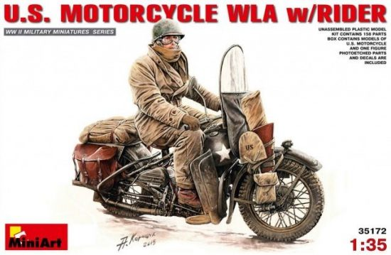 MiniArt U.S.Motorcycle WLA with rider makett