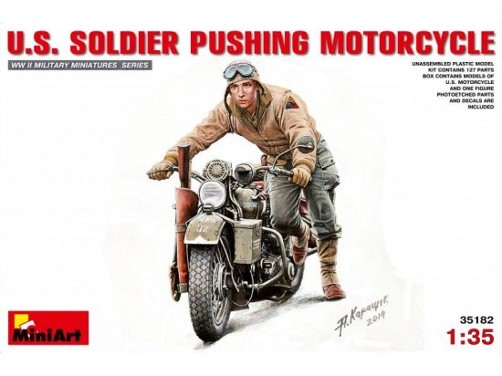 MiniArt U.S. Soldier Pushing Motorcycle