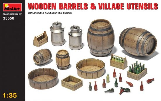 MiniArt Wooden Barrels and Village utensils