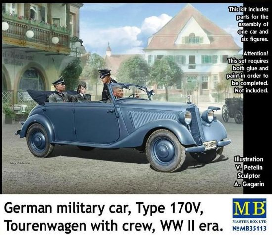 Masterbox German military car,Type 170V Tourenwage with crew makett