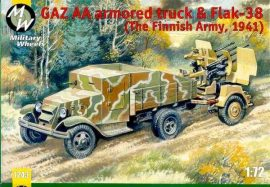 Military Wheels GAZ AA armored car truck & Flak-38, Fin