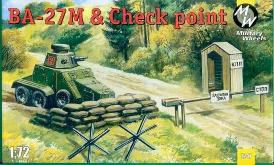 Military Wheels Ba-27M & Checkpoint makett