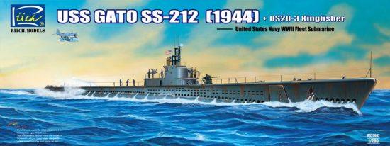 Riich Models USS Gato Class SS-212 Fleet Submarine 1944 + Vought OS2U-3 makett