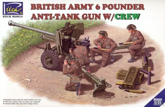 Riich Models British Army 6 Pounder Infantry Anti-tank Gun with Crew makett