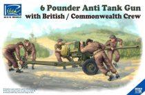 Riich Models 6 Pounder Anti Tank Gun with British Commonwealth Crew makett