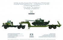 Takom KraZ-260V Tractor w/ChMZAP-5247Gb Semi-Trailer & T-55AMV makett