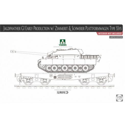 Takom Jagdpanther G1 Early Production w/Zimmerit & Schwerer Plattformwagen Type SSys makett
