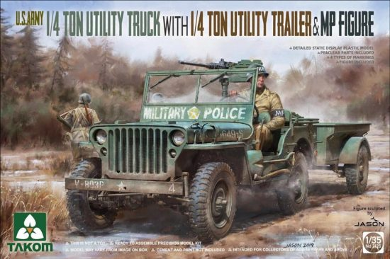 Takom 1/4 Ton Utility Truck with Utility Trailer & MP Figure makett