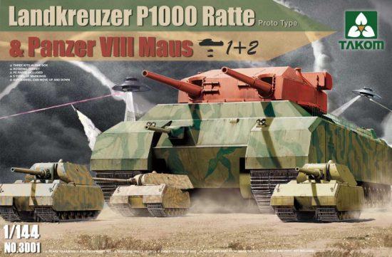 Takom Landkreuzer P1000 Ratte and Panzer VIII Maus 3 in 1 makett