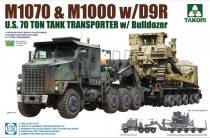 Takom US M1070 & M1000 w/D9R 70 Ton Tank Transporter w/Bulldozer makett